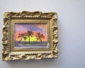 Miniature painting on porcelain  palm trees at sunset