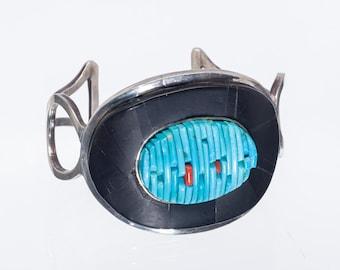 Leather & Turquoise Raised Cornrow Bracelet - Navajo Pete Sierra