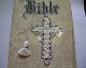 Cross Bookmark Tatted Ecru and Grey Lace Tatting