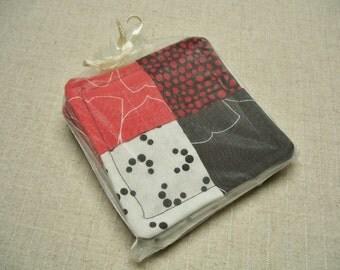 SALE - Red, White, and Black Folded Fabric Coasters, Set of 4, Reversible, Mug Rug