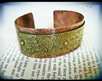 Hammered Copper and Floral Brass Layered Bracelet