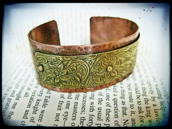 Hammered copper and floral brass layered bracelet for Hammered copper jewelry tutorial