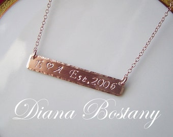 Anniversary Bar Necklace,  Rose Gold Jewelry, Date Bar Necklace, Couples necklace, Wedding Day,  Personalized Jewelry, Roman Numerals