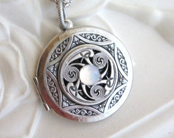 Triskele Pendant, Triskelion, Personalized Birthstone, Moonstone Locket, Celtic Jewelry, Celtic Necklace, Irish Jewelry, Locket Necklace