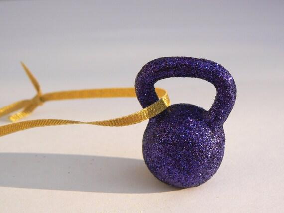 Purple Glitter Kettlebell Ornament
