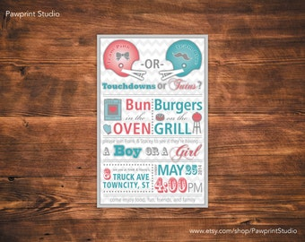 CUSTOM PRINTABLE Invitation: Gender Reveal Baby BBQ Invitation (Customizable)