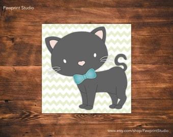 PRINTABLE Cat and Kitten Grey Nursery Art (12x12)