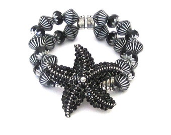 Starfish Double Strand Bracelet with Black Rhinestones and Black & Silver Czech Glass Beads sea star ocean critter summer beach tropical