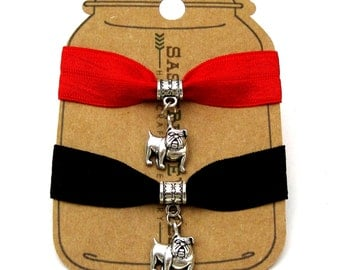 Bulldog Knotted Elastic Hair Tie Bracelet No Crease Ponytail Holder red black thick hair dog animal pet