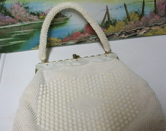 Vintage Faux Pearl Purse timmed with faux gold