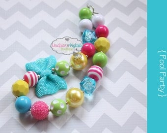 Toddler Chunky baby necklace { Pool Party } yellow, hot pink turquoise First birthday, cake smash, beach, summer photography prop