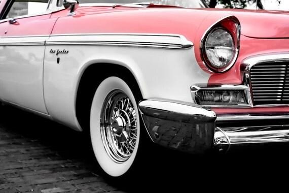 Chrysler New Yorker PINK Car Photography, Automotive, Auto Dealer, Muscle, Sports Car, Mechanic, Girls Room, Garage, Dealership Art