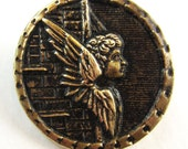antique button victorian angel brass