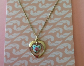 Vintage Guilloche hand painted Heart pink cabbage rose necklace jewelry