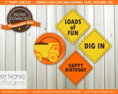 Printable Party Circles - Construction Theme Party Circles - Instant Download - Dump Truck Cupcake Toppers - Boy Party Decorations - BD103