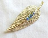 Vintage Blue Aurora Borealis Rhinestones Leaf Brooch