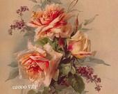 Victorian Summer Delights, Art Print, Catherine Klein, Half Yard Long, Heliotrope