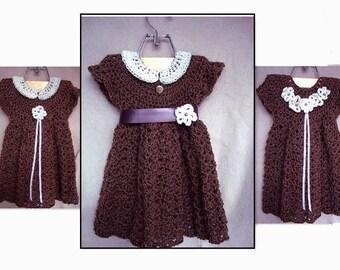 Girl's dress - CROCHET PATTERN -  pinafore, sundress, jumper, girls Sizes: age 2 to age 6  pattern # 664 B