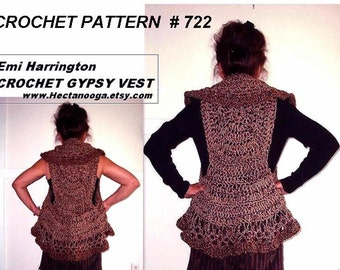 Crochet PATTERN-VEST num. 722 - Chunky cool weather circular vest,  make it any size from small to 4XL, gypsy vest, bohemian, clothing