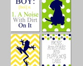 Baby Boy Nursery Toddler Art - Boy A Noise With Dirt On It, Frogs Snails and Puppy Dog Tails - Set of Four 8x10 Prints - CHOOSE YOUR COLORS