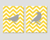Chevron Birds - Set of Two 8x10 Prints - Bathroom, Nursery, Kitchen, Bedroom - Choose Your Colors - Shown in Yellow, Gray, Red, and More