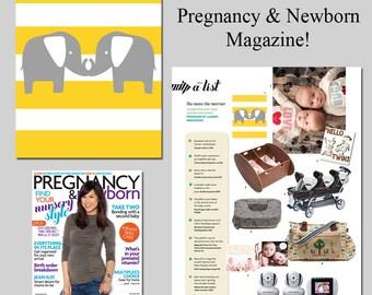 Stripe Elephants Twin Nursery Art - 11x14 Print - As Seen In PREGNANCY & NEWBORN Magazine - Choose Your Colors