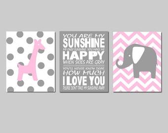 Pink Nursery Art Trio Pink Nursery Decor You Are My Sunshine Chevron Elephant Nursery Polka Dot Giraffe Set of 3 Prints - CHOOSE YOUR COLORS