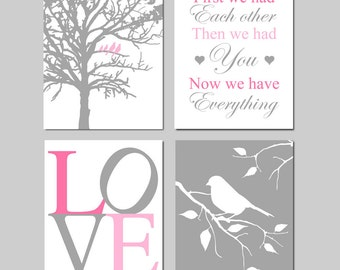 Baby Girl Nursery Art - Birds in a Tree, First We Had Each Other, LOVE, Bird on a Branch - Set of Four 8x10 Prints - Shown in PInk and Gray