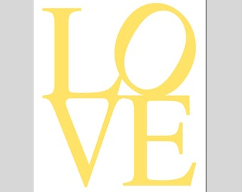LOVE - 8x10 Typography Print - Kids Wall Art for Nursery - Choose Your Colors - Shown in Soft Yellow and White
