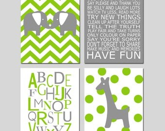 Lime Green Gray Nursery Art - Chevron Elephant Playroom Rules Alphabet Polka Dot Giraffe - Set of Four 8x10 Prints - CHOOSE YOUR COLORS