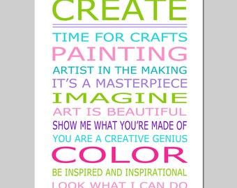 CREATE Playroom Rules - 11x14 Quote Print - Modern Nursery Childrens Decor - Kids Wall Art - Nursery Art Decor - Choose Your Colors