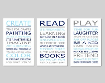 Playroom Rules PLAY READ CREATE Set - Kids Wall Art Trio - Set of Three 11x17 Nursery Art Prints - Choose Your Colors