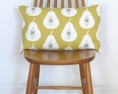 Mustard Yellow Pear Print Bolster Cushion Cover Throw Pillow Sham