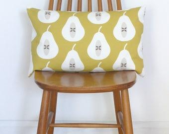 Mustard Yellow Pear Print Bolster Cushion Cover Throw Pillow Sham