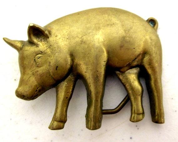Vintage Brass Belt Buckles Brass Pig Belt Buckle