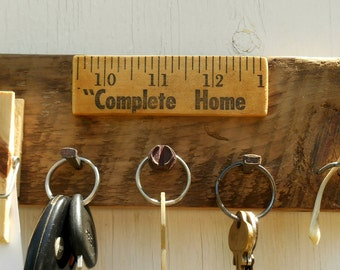 Key rack with note holder on reclaimed wood, Upcycled, Complete Home