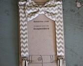 Boy Suspenders and Bow tie set- Taupe Khaki Chevron