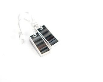 Barred Earrings - sterling silver, multicolored resin, stripes, neutrals, black, white, gray, brown
