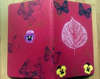 Small Moleskine Journal, Writing Journal, Moleskine Notebook, Under 15 Dollars, Gift for Writer, Student, Flowers, Butterfly, Butterflies