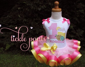 Lemonade or Pink Lemonade Birthday Outfit- Yellow, pink and sparkles- Includes top top, ribbon tutu -  Made to match your party