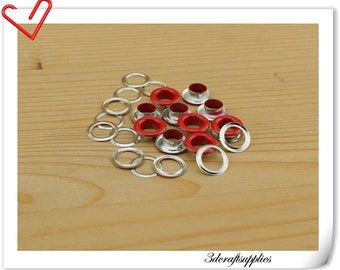 8mm red metal red eyelets  Metal grommets  100 pieces AC26
