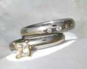 Titanium Diamond Bridal Set - Princess Cut White Sapphire Solitaire Setting - Gold and Diamond Rings - ste8s15