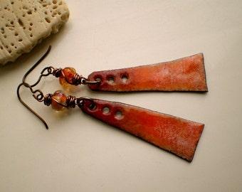 AUTUMN BLISS - Lampwork and Copper Enamel Earrings