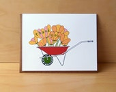 Wheelbarrow Tulips - thank you cards, set of 8