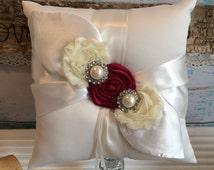 RING BEARER PILLOW / personalized ring bearer pillow , rustic wedding , barn yard ,wedding pillow , wedding pillow