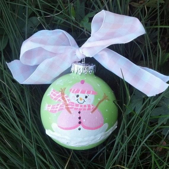 My 1st Christmas for Baby girl handpainted Christmas glass ball ornament keepsake RachaelsGarden