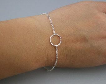 Tiny Textured Circle Sterling Silver Bracelet - Eternity Bracelet - Karma Bracelet