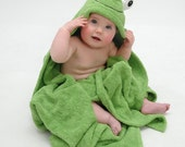 PERSONALIZED Yikes Twins Infant Frog hooded towel