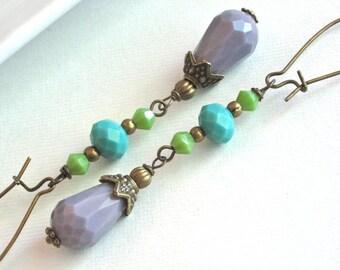 Long Dangle Earrings - Multi Colored Earrings, Pastel Earrings, Glass Earrings