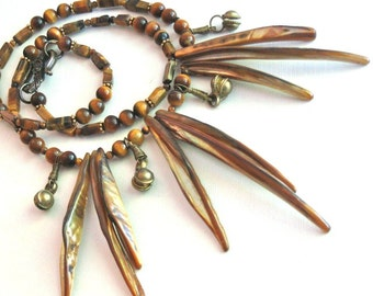 Mother of Pearl Tiger Eye Necklace - Spike Necklace, MOP Necklace